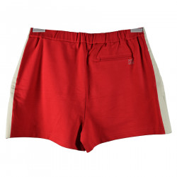 RED COTTON SHORTS WITH LATERAL GREY STRIP