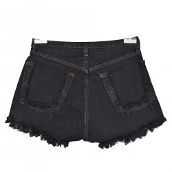 BLACK DENIM SHORTS WITH RIPPED DETAILS