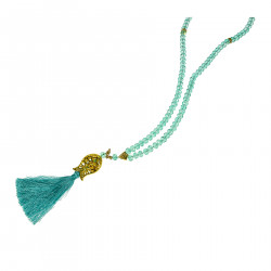 LIGHT BLUE NECKLACE WITH TASSEL