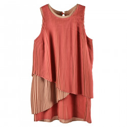 PINK FLARE WITH FOLDS DRESS