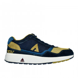 BLUE AND YELLOW LEATHER AND FABRIC SNEAKER