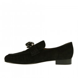 BLACK SUEDE LOAFER WITH APPLICATION