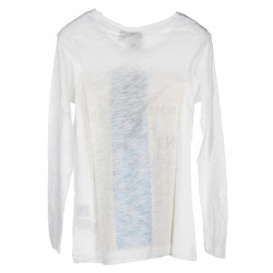 WHITE LONG SLEEVES SWEATER WITH FRONTAL PRINT