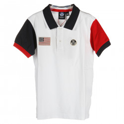 WHITE POLO WITH BLUE AND RED SLEEVES