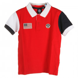 RED POLO WITH BLUE AND WHITE SLEEVES