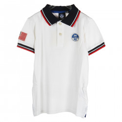 WHITE POLO WITH BLUE AND RED DETAILS