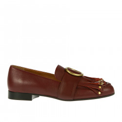 BORDEAUX LOAFER WITH FRINGES AND EYELETS