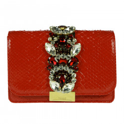 RED SHOULDERBAG WITH STONES