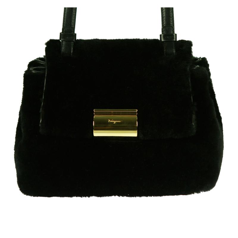 SALVATORE FERRAGAMO Trovaprezzinuovo BLACK FUR SHOULDER BAG Woman -  Threedifferent 31198a732a545