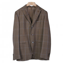 BROWN JACKET WITH BLUE CHECKED