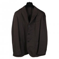 BROWN JACKET WITH NOTCHED LAPEL