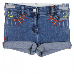 SHORTS IN DENIM CON INSERTO ARCOBALENO