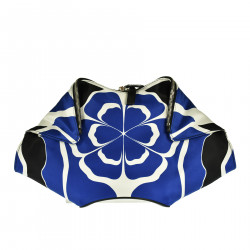 BLACK BLUE AND WHITE CLUTCH
