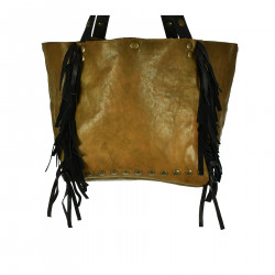 BROWN HANDBAG WITH STUDS AND FRINGES