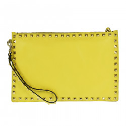 YELLOW LEATHER CLUTCH WITH STUDS