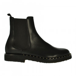BLACK LEATHER CHELSEA BOOT WITH STUDS APPLICATION