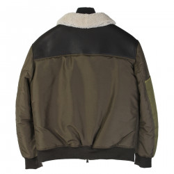 GREEN JACKET WITH BLACK LEATHER INSERT