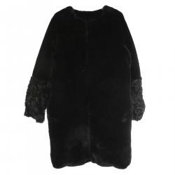 BLACK ECO FUR COAT