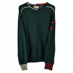 GREEN PULLOVER WITH RED AND WHITE DETAILS