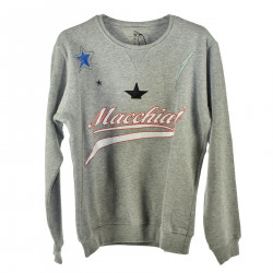 GRAY SWEATSHIRT WITH COLORED EMBROIDERY
