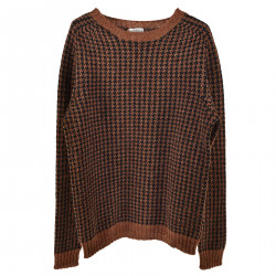 PIED DE POUL BROWN AND BLUE SWEATER