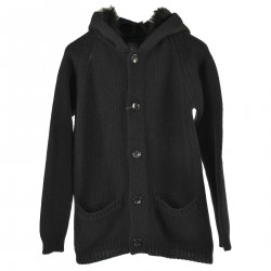BLACK CARDIGAN WITH HOOD