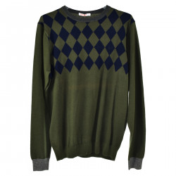 GREEN PULLOVER WITH BLUE RHOMBUS FANTASY