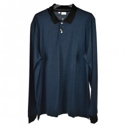 BLUE POLO SHIRT WITH CONTRAST COLLAR