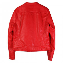 RED ECO LEATHER JACKET