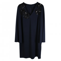 BLUE DRESS WITH BLACK EMBROIDERY AND STRASS APPLICATION