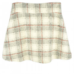 WHITE AND GRAY CHECKED SKIRT