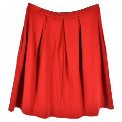 RED SKIRT WITH FOLDS
