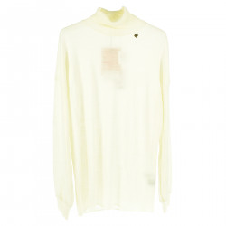 WHITE LONG SLEEVES SWEATER WITH HIGH COLLAR