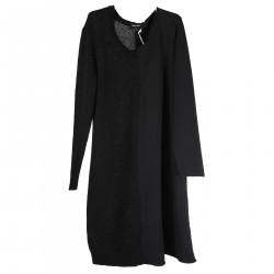BLACK DOUBLE FABRIC DRESS