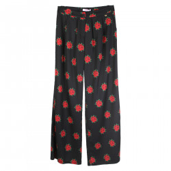 BLACK TROUSERS WITH RED ROSE PRINT
