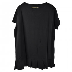 BLACK T SHIRT WITH STRASS APPLICATION