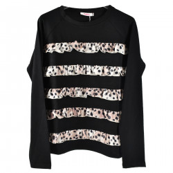 BLACK SWEATSHIRT WITH PINK ANIMALIER FLOUNCES