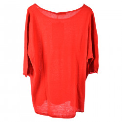 RED SHORT SLEEVES SWEATER