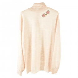 ANTIQUE ROSE SWEATER WITH HIGH COLLAR