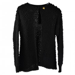 BALCK CARDIGAN WITH HEART PLATE