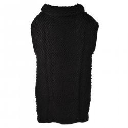 BLACK SLEEVELES DRESS WITH HIGH COLLAR