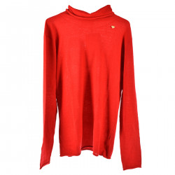 RED LONG SLEEVES SWEATER WITH HIGH COLLAR
