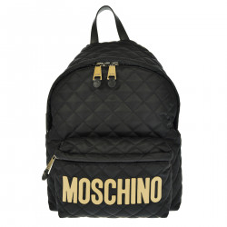 BLACK BACKPACK WITH GOLD BRAND LOGO