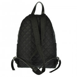 BLACK BACKPACK WITH SILVER BRAND LOGO