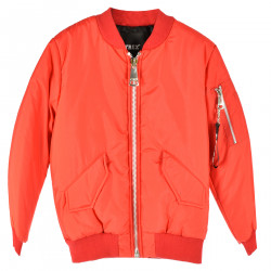 RED BOMBER WITH LOGO ON THE BACK