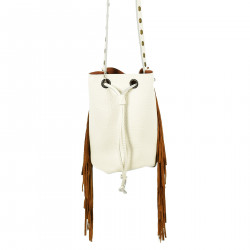 WHITE BUCKET BAG WITH BROWN FRINGES