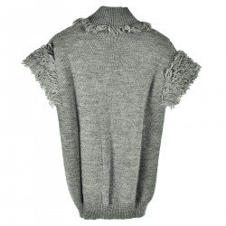 GRAY SLEEVELES SWEATER WITH LONG WOOL INSERTS