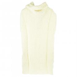 WHITE SLEEVELES DRESS WITH HIGH COLLAR