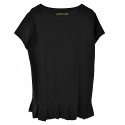 BLACK T SHIRT WITH FLOUNCES ON THE BOTTOM