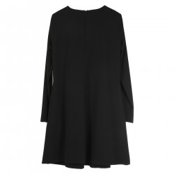 BLACK DRESS WITH FRONTAL FOLD